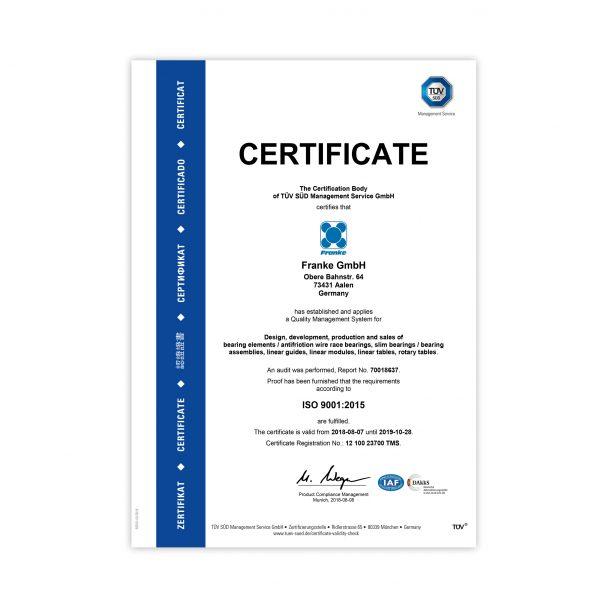 Bearings Bespoke ISO 9001 Certificate