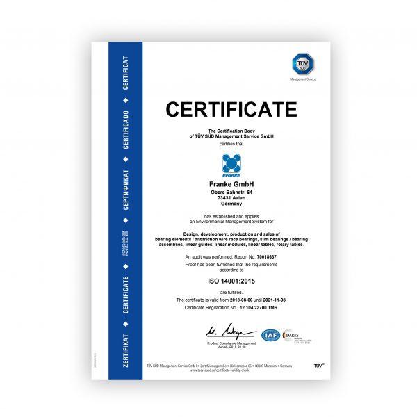 Franke Bespoke Linear & Rotary ISO 14001 Certificate